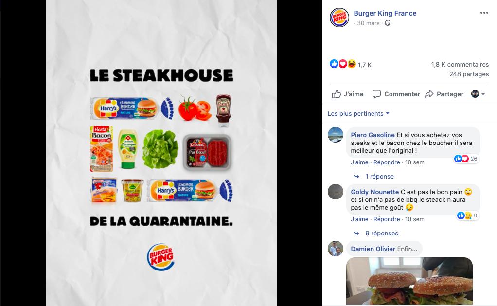 Publication Burger King France sur Facebook pendant le confinement.